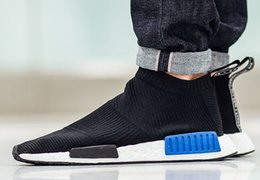 "Wholesale Shoe Lace Socks - NMD City Sock Primeknit Black Blue buy online at yakuda ' store, Shoe With no laces and a snug Primeknit upper, Boost Primeknit ""Core Blac"