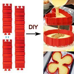 Molde de cozimento de silicone retangular on-line-Silicone bakeware forma de bolo de forma de cobra mágica diy cozimento quadrado retangular coração forma redonda ferramentas de festa do bolo molde em estoque