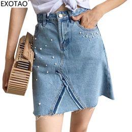 Wholesale Casual Skirt Designs For Women - EXOTAO Design Pearl Decorated Denim Skirts for Women A-Line High Waist Faldas Summer Mini Skirt Female 2017 Casual Jeans Saias