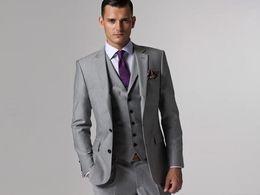 Wholesale Grey Tuxedo White Vest - 2016 Groom Tuxedos Groomsmen Custom Made Light Grey Side Vent Slim Fit Best Man Suit Wedding Men's Suits Bridegroom (Jacket+Pants+Tie+Vest)