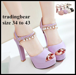 Wholesale thick girl wedding dresses - Plus size wedding shoes womens girls white pearls chain thick heels bridesmaid bridal shoes 34 to 40 41 42 43