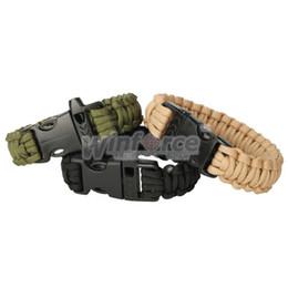 3 colori Paracord corda paracadute emergenza braccialetto di emergenza Corda con fibbia fischietto verde oliva / nero / cachi da fibbie del fischio del paracord fornitori