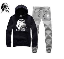 Wholesale Mens Green Sweat Pants - Spring Autumn Mens Casual Slim Fit Hoodies +PANTS Sportswear Male Patchwork Fleece Jacket Last Kings sweat suit S-5XL