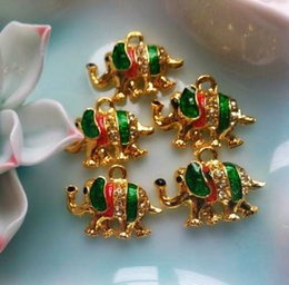 Wholesale Thailand Amulets - The bell [produced] into wholesale copper gilt elephant enamel Thailand amulet DIY beads material accessories accessories