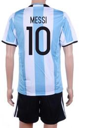 Wholesale Cheap Argentina Soccer Jersey - Wholesale Customized 16-17 Argentina 10 messi Soccer Jersey Sets,Cheap 11 AGUERO 21 DYBALA uniforms,cheap 22 LAVEZZI Football Jerseys KIT