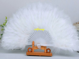 Wholesale Fast Shipping Costumes - 10pcs lot Fast shipping Feather Fans Folding Dance Hand Fan Fancy Costumes For Wedding Party Supplies