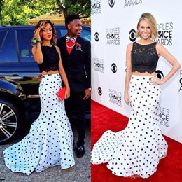 Wholesale Polka Dot Two Piece Dress - Elegant Lace White and Black Polka Dot Two Piece Mermaid Prom Dresses 2016 Crew Cheap Formal Celebrity Evening Dresses Party Dresses BA2285