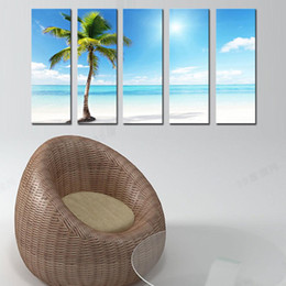 Wholesale Palms Trees Pictures - 5 Panel Wall Art Palm Trees On A Beautiful Beach On Canvas Landscape The Picture For Home Modern Decoration piece