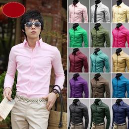 Colori camicie formali da uomo online-Uomo Slim Fit colori Candy Formale Smart camicie Camicetta stile coreano Top Camicie maniche lunghe 17 colori 100 pezzi LJJO3233