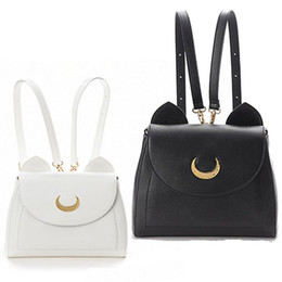 Wholesale Japanese Anime Backpacks - TOP Sale Anime Sailor Moon Samantha Vega Luna Backpack Cosplay Shoulder Bag Costume Accessories White+Black Fake Leather Bag