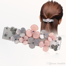 Wholesale Rhinestone Hair Pin Clip Barrette - Barrettes Promotion Ornament petal Rhinestone hair barrette clips delicate acrylic hair pins fashion jewelry women accessories