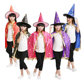Wholesale Kids Wizard Costume - Halloween Costumes Witch Wizard Cloak with Hat for Kids Boys Girls Christmas Wizard Cloak Enchanter Stars 6 Fancy Halloween Witch