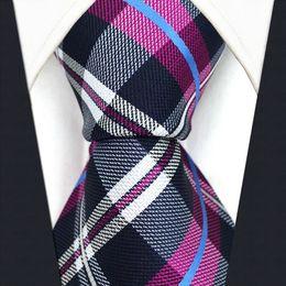 Wholesale Purple Tie Square Pocket - S14 Checked Purple Blue White Navy Handkerchieves Pocket Square tie Men's Neckties Jacquard Woven
