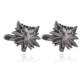 Wholesale Gothic Cuffs - Gothic Punk The Witcher 3 Cufflinks For Mens Wild Hunt Shirt Brand Cuff Buttons High Quality Vintage Wolf Heads Cuff Links Gifts 0903818-4