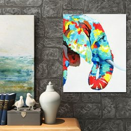 Wholesale Oil Painting Designs Canvas - New Design Hand Made Colorful Elephant Oil Painting On Canvas Animal Oil Painting Modern Canvas Wall Art Living Room Decor Picture
