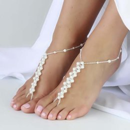 Wholesale Gifts For Bridesmaids - Wholesale 6pair lot Crochet Pearls Ankle Bracelet Anklets for Women, Stretch Barefoot Sandles Beach Wedding Favors Bridesmaid Gift 2 Sizes
