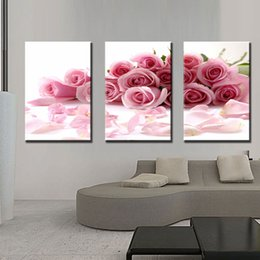Wholesale Oil Painting For Sale Unframed - Three Panle Modern Wall Painting Pink Rose Canvas Wall Art Picture Home Decor Beautiful Flowers Create Romantic for Bedroom Hot Sale