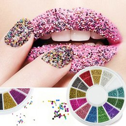Wholesale Steel Beads Nail - Hot 3D Acrylic Nail Art Tips 12 Color Fashion Steels Beads Studs DIY Decoration Glitter Rhinestones Wheel Beauty Nails Tools