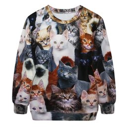 Wholesale House Digital - Fashion punk sleeve head smoke digital printing 3D cat balloons flying house lovely pure leisure sweater loose