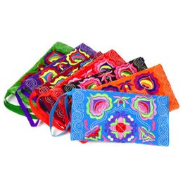 Wholesale Chinese Coin Purses - Chinese ethnic embroidery Women's handmade long purse wallet Card package Coin package Embroidered wallet embroidered bag package