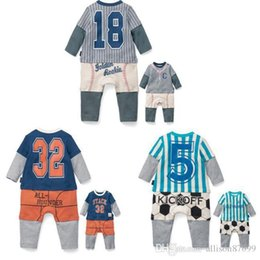 Wholesale Christmas Outwear - 2017 Baby boy clothing tracksuits Basketball baby rompers Boy numbers striped Outwear Toddler clothes 2016 Autumn spring 100%cotton