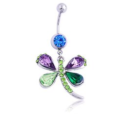 Wholesale Dragonfly Belly Button Rings - Piercing Body Jewelry Belly Button Rings Stainless Steel Austrian Crystal Dragonfly Colorful Mixed Navel Ring Fine Wholesale