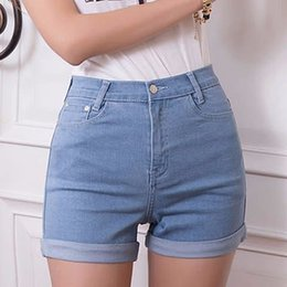 Wholesale Silver Jeans Wholesaler - Wholesale-2016 new fashion summer women sexy shorts mid high quality skinny four pockets hot sell button women casual jeans