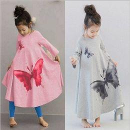 Wholesale Wide Skirts - 2016 Hot Korean Ink Wash Butterfly Washing Printing Long Sleeve Wide Hemline Vintage Girls Bow Dress Kids Dresses Dressy Skirt 2colors