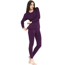 Wholesale Nylon Long Johns - Wholesale-Women 2-Piece Winter Warm Plus Velvet Inner Wear Thermal Long Johns Pajama Set Stylish