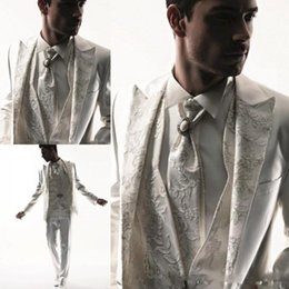 Wholesale Western Wedding Suits For Men - 2015 Western Style Men Tuxedos Business Suit Brand Boss Dress Suit For Mens Wedding Formal Business Boys Suits Groom White Tuxedos Tailcoat