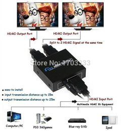Wholesale Hdmi Rca Audio Splitter - 100pcs 3D HDMI Splitter 2 Port 1x2 HDMI Switch 1 In 2 Out Switcher Support HDTV 1080P with power cable For Audio Video DVD #RN05