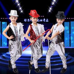 Wholesale girls hip hop dancewear - 3 Pieces Girls Sequined Modern Jazz Hip Hop Dancewear Outfits Kid's Party Dance Costumes Stage Wear Jazz Dancewear DS Costumes