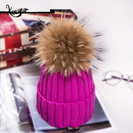 Wholesale Pink Fox Fashion - New Winter Fur Pompom Hat Fashion Women Big Real Fox Fur Pom Pom Beanies Cap Bobble Hat Hot Sale