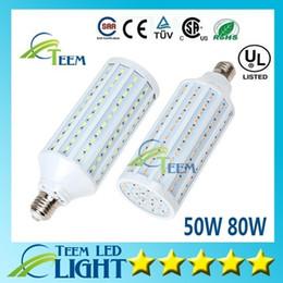Wholesale E27 Corn Down - DHL Ultra bright Led Corn light E27 E14 B22 SMD 5630 5730 85-265V 50W 80W 8000LM LED bulb down Lighting Lamp 50