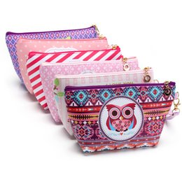 Wholesale Digital Print Handbags - 2017 Owl Cosmetic Bag Dinner bag Cartoon sailboat handbag Storage package True color digital printing