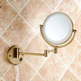 2019 mesas laterais espelhadas atacado Frete grátis Modern projetado banheiro beleza espelho de aumento com cobre telescópico de bronze pendurado / dobrável / Rotatable / Equipado espelho