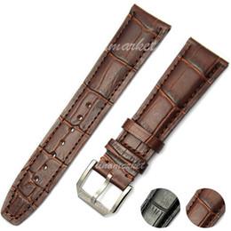Wholesale crocodile watchband - 20mm (Buckle 18mm) New Stainless Steel PIN Buckle Brown Crocodile Grain Genuine Leather WatchBand Strap