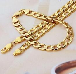 """Wholesale 9k Gold Filled Necklace - Real 9k Gold filled Men's Bracelet + necklace 21.5"""" Chain Set Christmas Gift"""