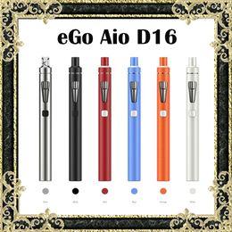 Wholesale Ego Slim - Original Joyetech eGo Aio D16 Kit Upgraded eGo Aio Kit Slimmer With BF SS316 0.6ohm 1500mAh Battery 2ml Tank
