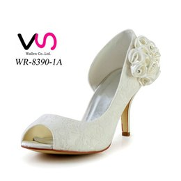 Wholesale Kitten Heels Size 11 - 2016 Ivory Color Nice Lace Elegant Style Bridal Shoes Wedding Dress Shoes Handmade Shoes for Wedding From Size35-Size 42 Free Shipping