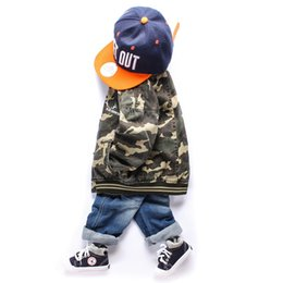 Wholesale Blue Baseball Jacket Coat - 2016 boys kids camo coat Quality Stand collar vintage washed baseball jackets children Autumn Spring sport outwear 3 4 5 6 7 8 years