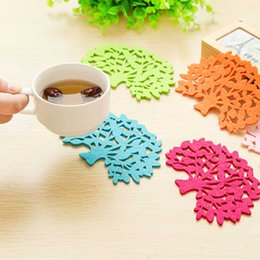 Wholesale Coasters Cup Mats Disc - Wholesale- Placemat Disc Tree Shaped Heat Pad Insulation Household Coasters Cup Dish Coffee Heat Proof Mat Pads for Table Random color