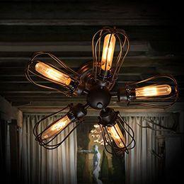 ampoule edison t45 Promotion Vintage Barn Métal Semi Flush Bulb Light Mount Noir Fer Loft Antique Industrial lampe Edison T45 Retro Ceiling Light Pamplemousse Applique
