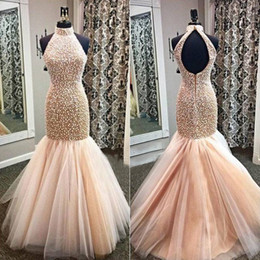 purple feather dresses Promo Codes - Champagne luxury sparkly Prom pageant dresses 2019 Mermaid Open Backless Heavy Beaded Evening Dresses Sexy Mermaid Gown for Graduation