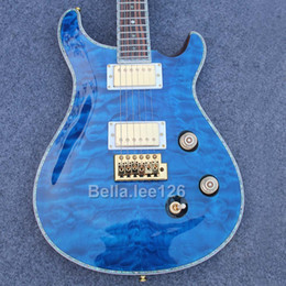 Wholesale Quilted Maple Top Guitar - Music instrument guitar store,Sky blue quilted maple top ,gold hardware Paul Smith guitar electric,free shipping