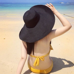 Wholesale Foldable Beach Hats For Women - Women's Large Brim Sun Hats Foldable UV Protection Solid Straw Hats Casual Beach Style Sun Shading with Drawstring for Travelling