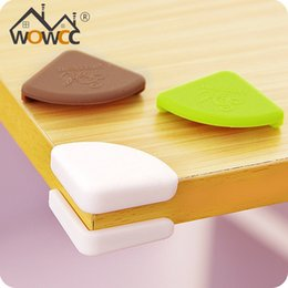 Wholesale Desk Edge Protection - Wholesale- 4Pcs Set Silicone Placemat Baby Safe Protection Corner Plate Mat Table Desk Guard Kitchen Pads Children Safety Edge Guards Tool