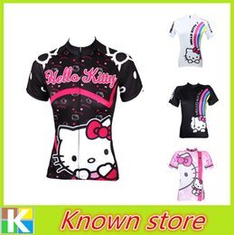 Wholesale Clothing Waterproof Woman - New women's hello kitty pink cycling jersey white hello kitty cycling shirt bicycle jersey black cycle gear riding clothes