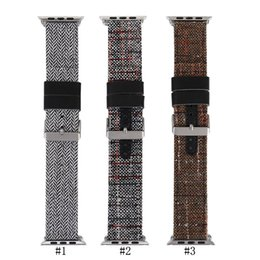 Wholesale Watch Covers Leather Bands - High Quality Watch Band Strap Bracket Made From Linen Thread Covering Leather Lining Watchband Replacement for Apple Watch iWatch Band 38mm