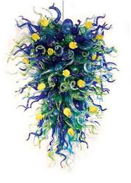Feux de lustre en verre vert en Ligne-Longree Art Plafonnier À La Main Soufflé En Verre Lustre Contemporain Livraison Gratuite Fantaisie Design Vert Pendentif Lustre